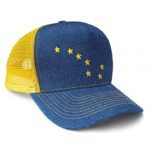 Alaska Flag Denim Trucker Hat