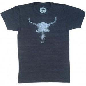 Bison Skull Men's Charcoal T-Shirt