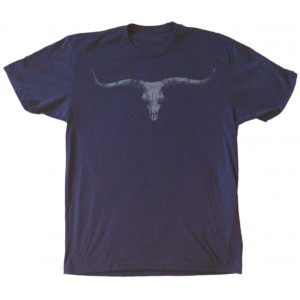 Longhorn Skull Men's T-Shirt Indigo Blue