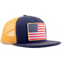 American Flag Denim Trucker Hat