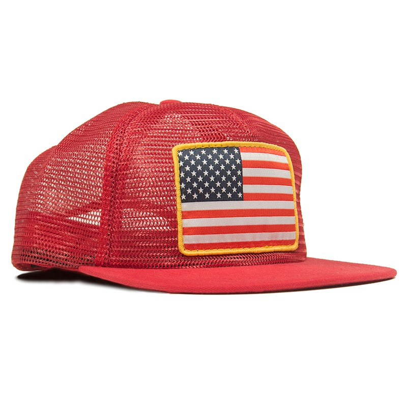 American Flag Patch Red Mesh Trucker Hat