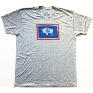 Wyoming Flag Men's T-Shirt Heather Grey
