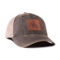 Wyoming Bronco Outback Leather Trucker Hat
