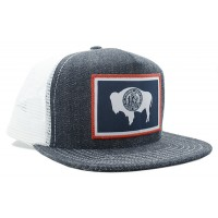 Wyoming Flag Denim Made in USA Trucker Hat