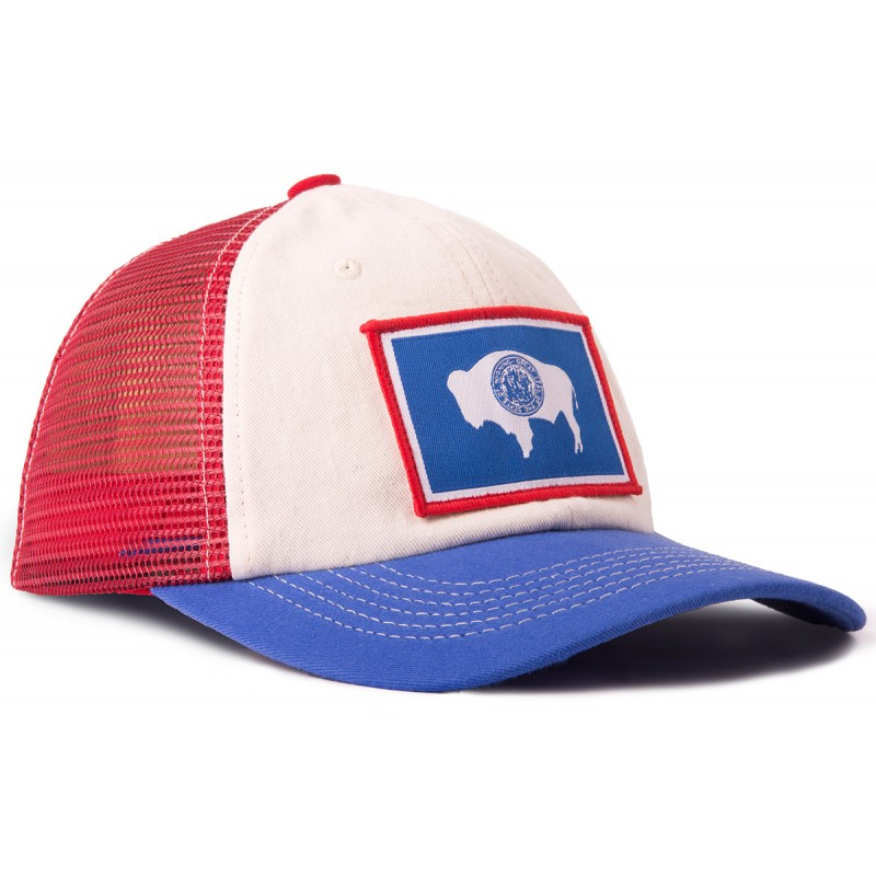Red White and Blue Wyoming Flag Classic Mesh Hat ba65be421c5